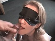 Blindfold blowjob and facial cumshot making her lick knob clean of jizz