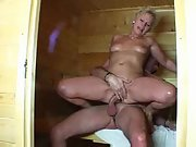 German wife gets drilled by her hubby in sauna
