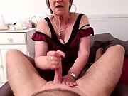 Sexy aged knows how to give a hand job