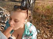 Super-cute blonde loves blow-job outdoors part iii