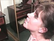 Filthy gullet brunette mom hj and gargle wanting sperm facial cumshot
