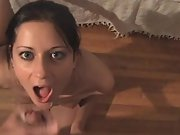 Cuck hot southern wifey sucking, tearing up and getting a facial cumshot from a stranger