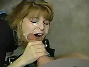 Ash-blonde mummy thick cock blow and creamy cum facial