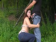 Married woman deepthroats a stranger near the forest