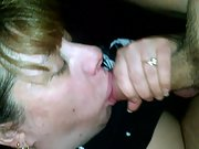 Plowed my wifes tits and jaws till i cum over her face and milk cans real amatuer