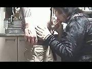 Kitchen blowjob
